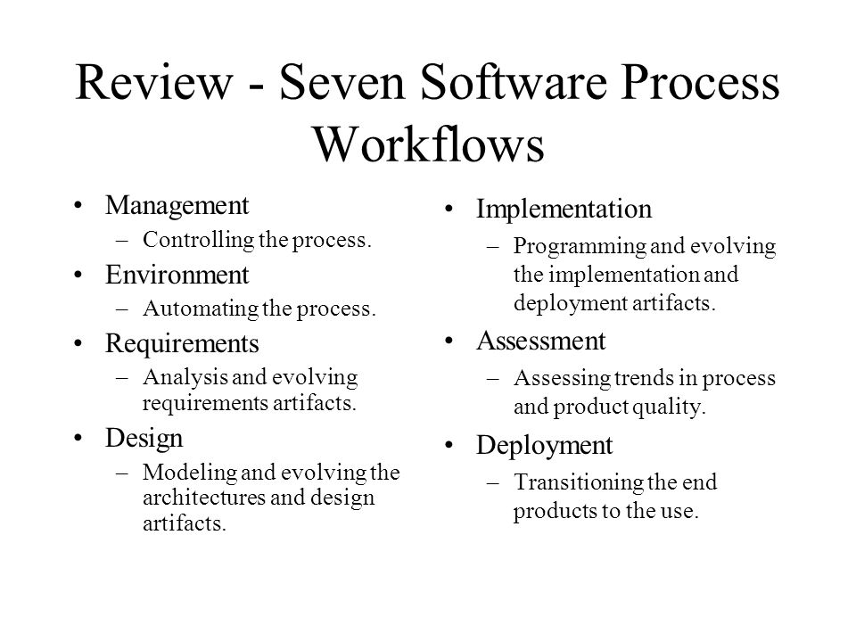 Review - Seven Software Process Workflows
