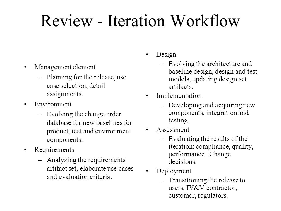 Review - Iteration Workflow