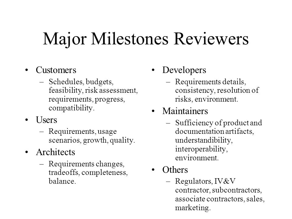 Major Milestones Reviewers