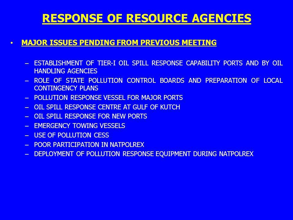 RESPONSE OF RESOURCE AGENCIES