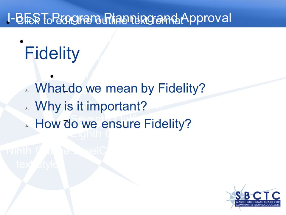 Fidelity I-BEST Program Planning and Approval