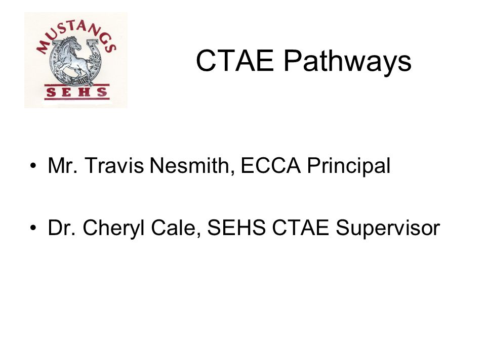 CTAE Pathways Mr. Travis Nesmith, ECCA Principal