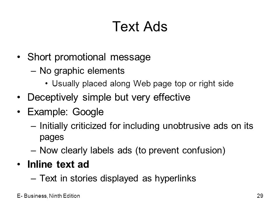 Text Ads Short promotional message