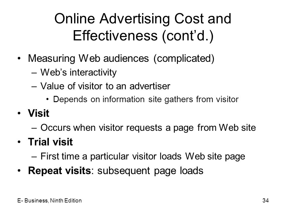 Online Advertising Cost and Effectiveness (cont'd.)