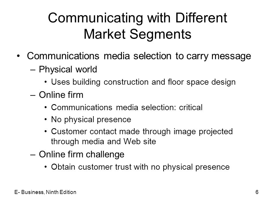 Communicating with Different Market Segments