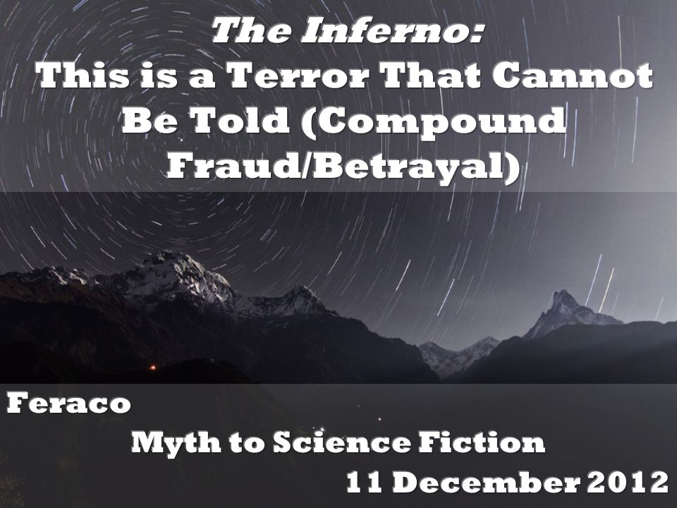 Feraco Myth to Science Fiction 11 December 2012