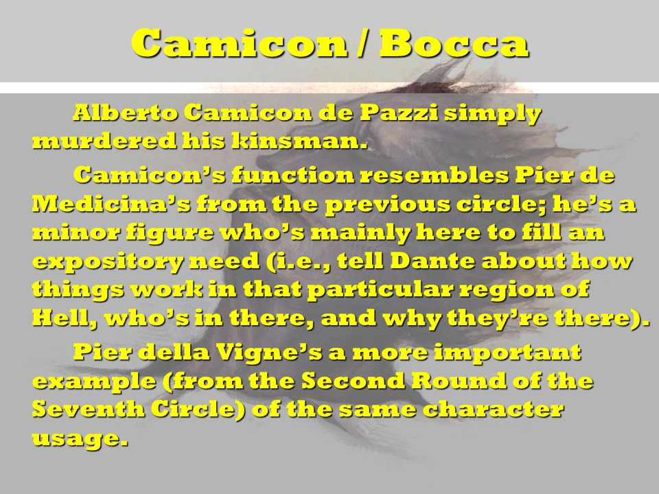 Camicon / Bocca Alberto Camicon de Pazzi simply murdered his kinsman.