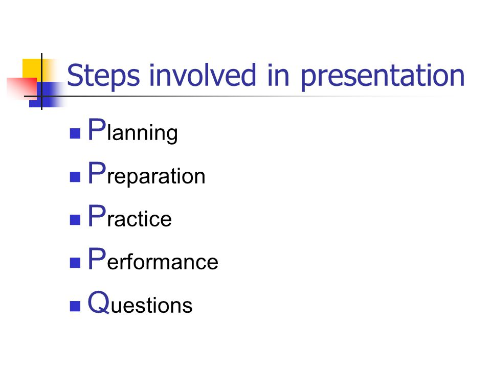 Steps involved in presentation