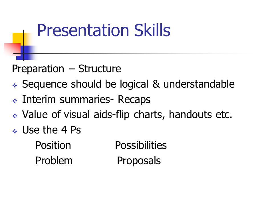 Presentation Skills Preparation – Structure