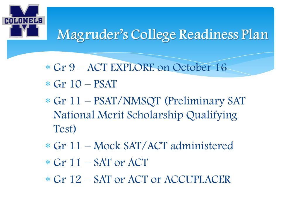 Magruder's College Readiness Plan