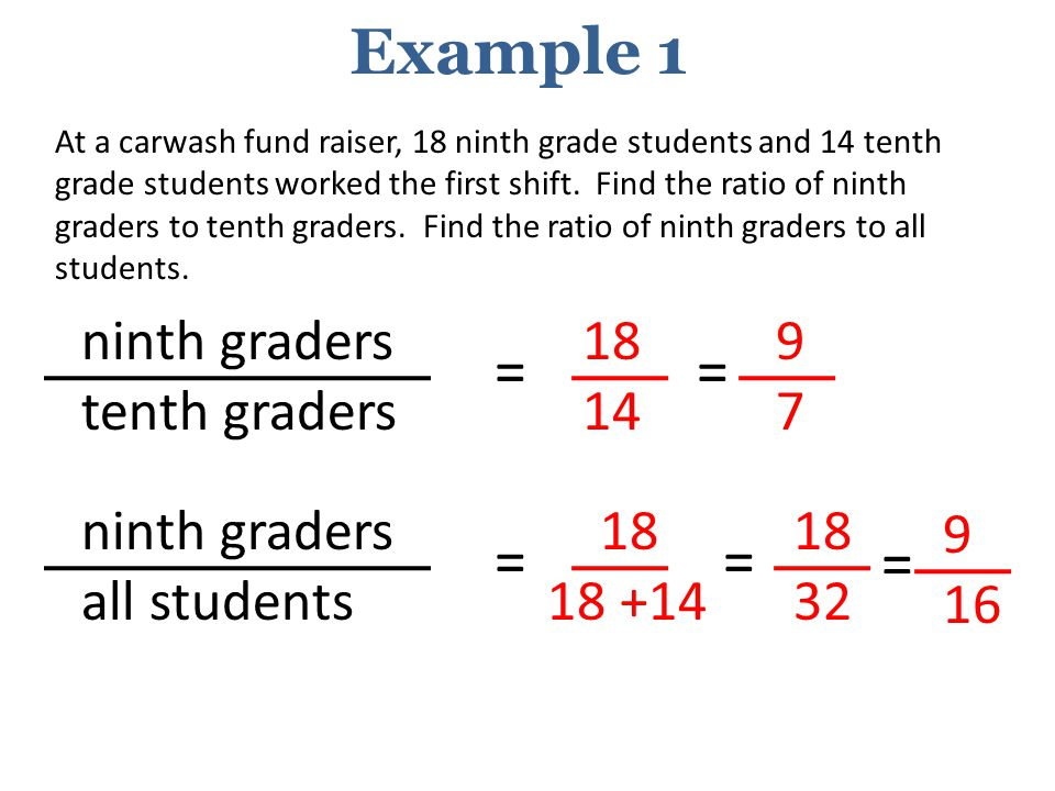 Example 1 = = = = = ninth graders tenth graders 18 14 9 7