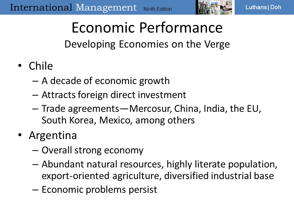 Economic Performance Developing Economies on the Verge