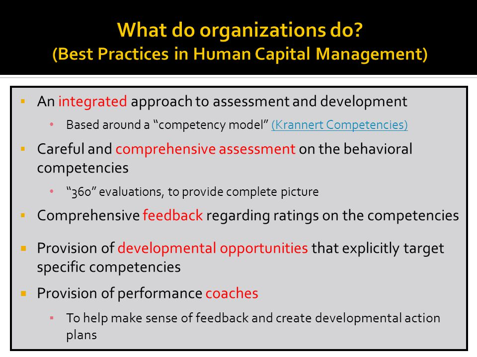 What do organizations do (Best Practices in Human Capital Management)