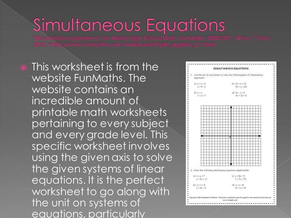 Simultaneous Equations Simultaneous Equations