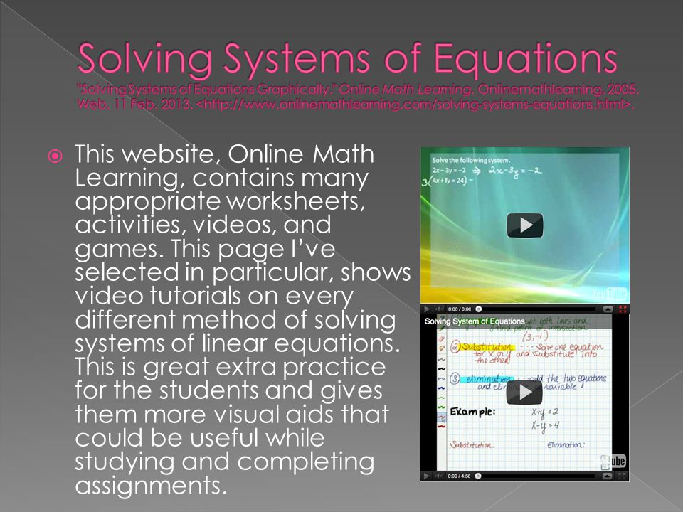 Solving Systems of Equations Solving Systems of Equations Graphically