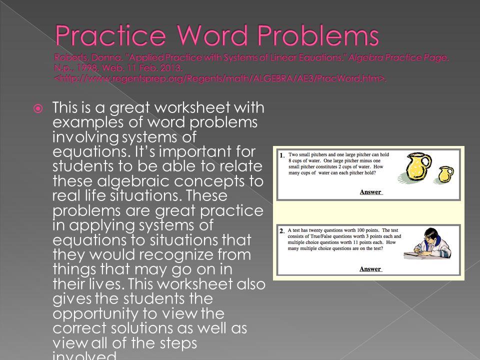 Algebra practice worksheets word problems