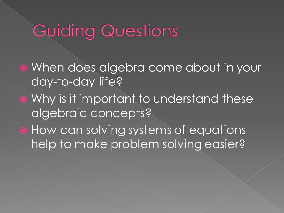 Guiding Questions When does algebra come about in your day-to-day life Why is it important to understand these algebraic concepts