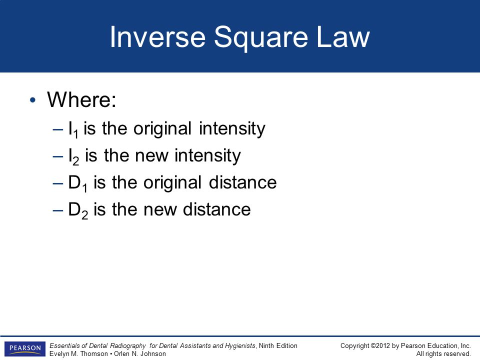 Inverse Square Law Where: I1 is the original intensity