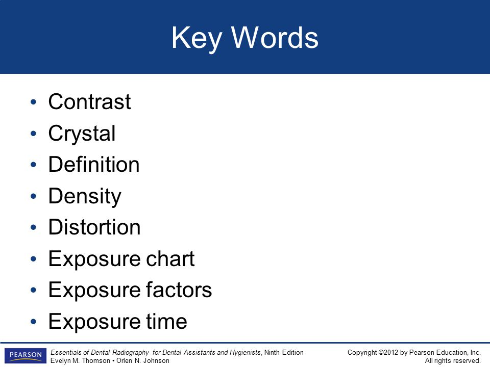 Key Words Contrast Crystal Definition Density Distortion