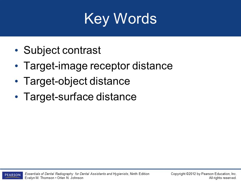 Key Words Subject contrast Target-image receptor distance