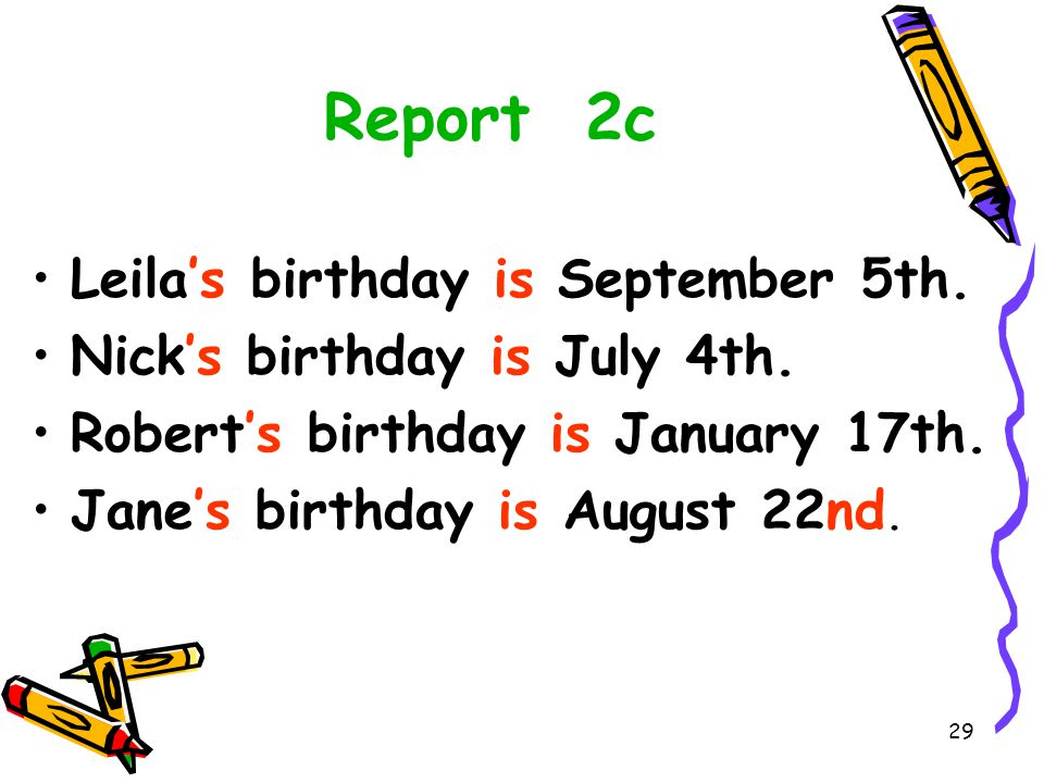 Report 2c Leila's birthday is September 5th.