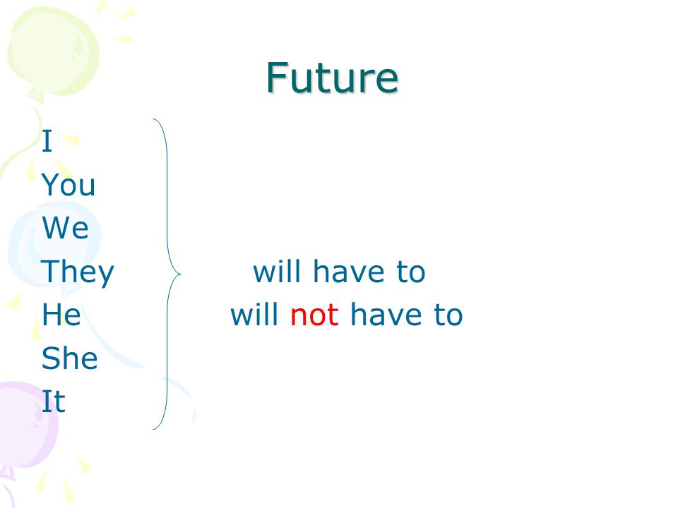 Future I You We They will have to He will not have to She It