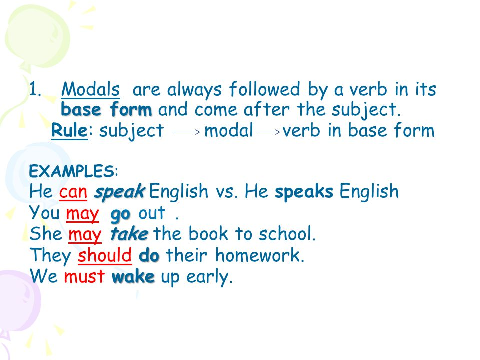 Rule: subject modal verb in base form