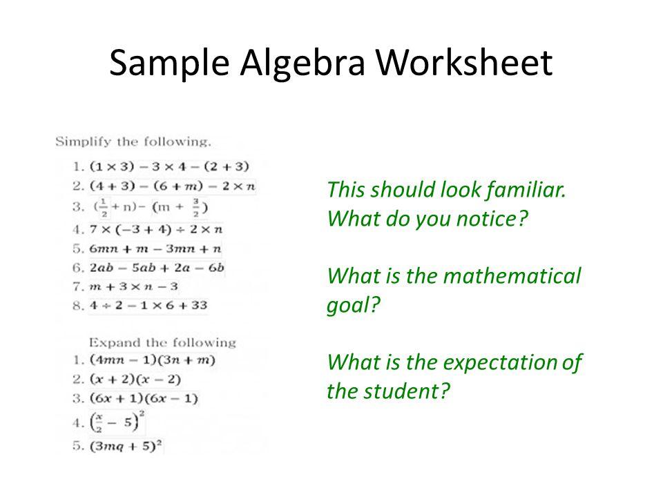 Sample Algebra Worksheet