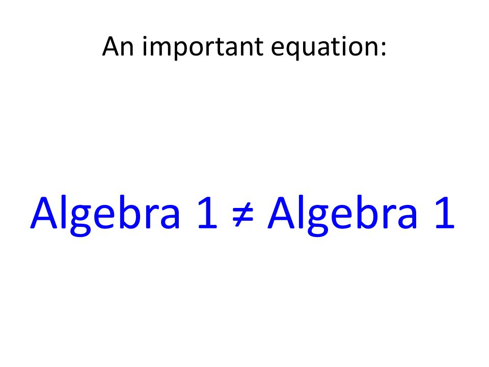An important equation: