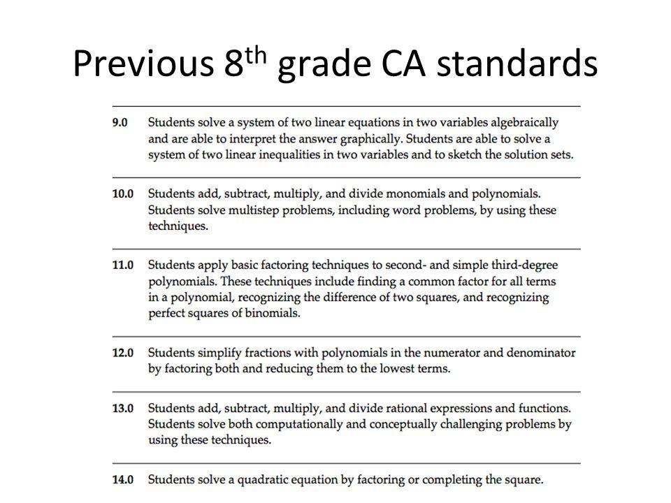 Previous 8th grade CA standards