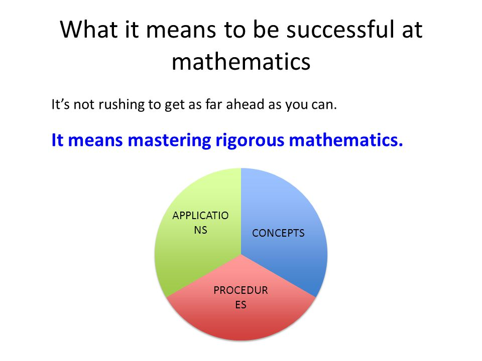 What it means to be successful at mathematics