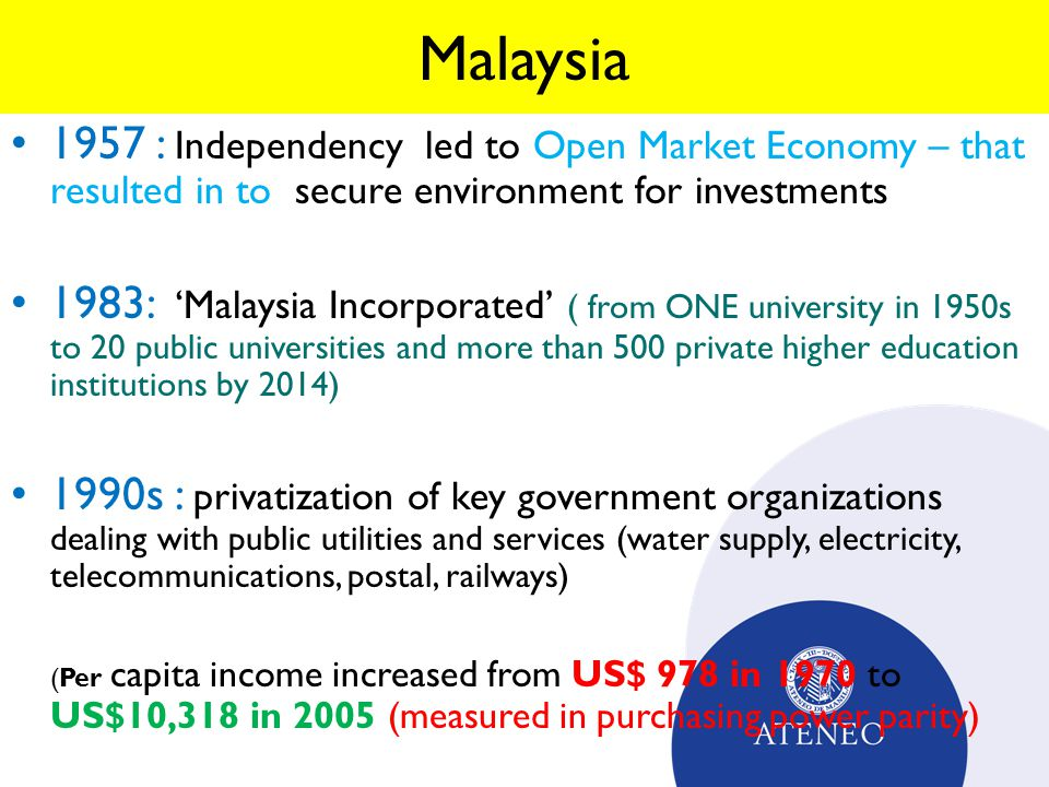 Malaysia 1957 : Independency led to Open Market Economy – that resulted in to secure environment for investments.