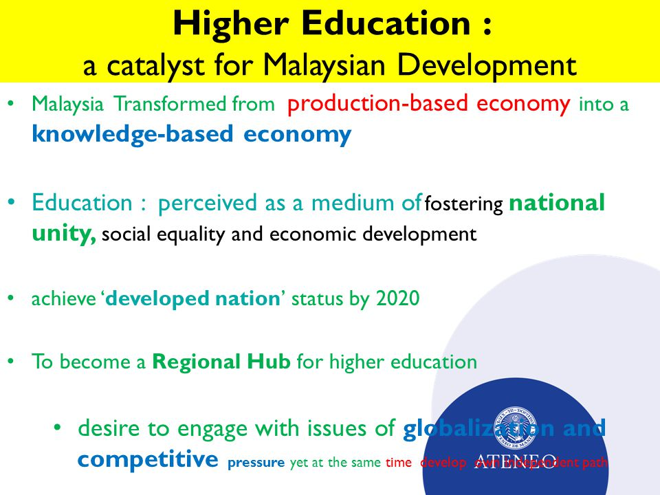 Malaysian higher education policy innovations ppt video online 4 higher education malvernweather Gallery