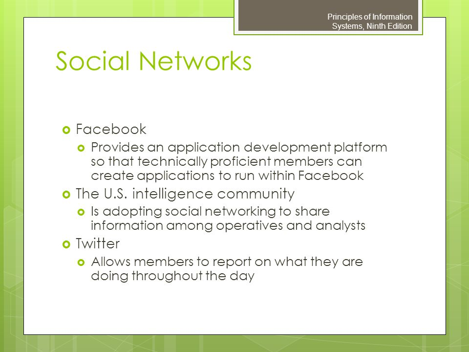 Social Networks Facebook The U.S. intelligence community Twitter