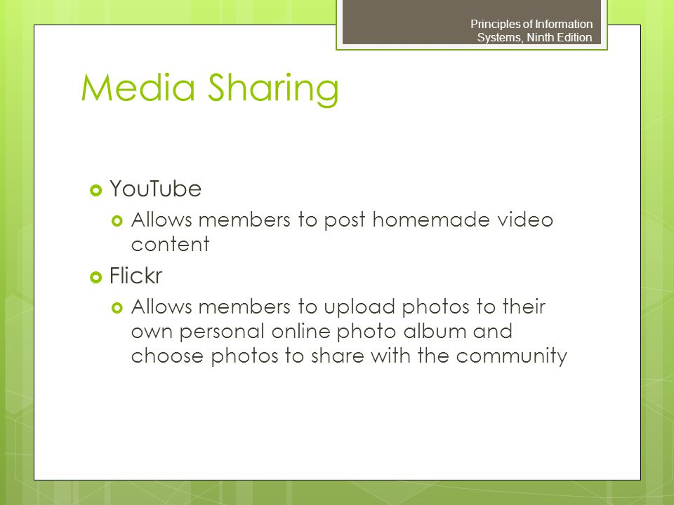 Media Sharing YouTube Flickr