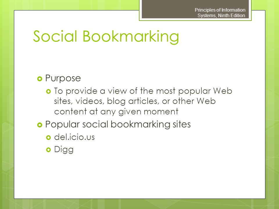 Social Bookmarking Purpose Popular social bookmarking sites