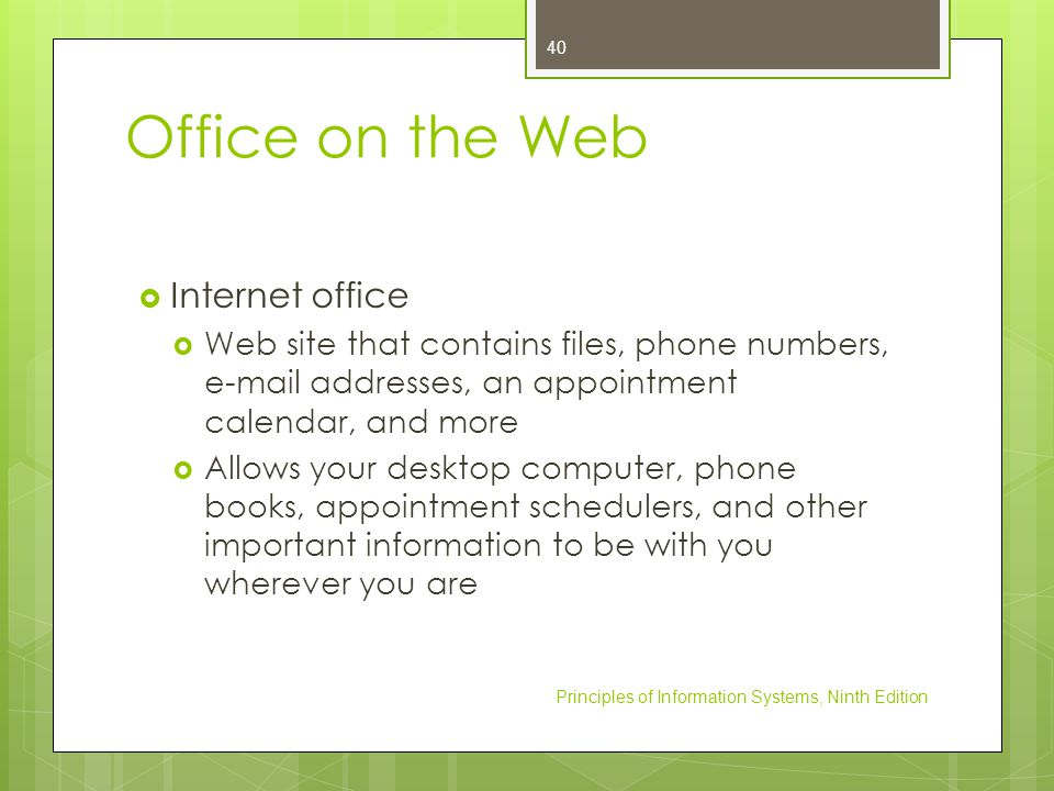 Office on the Web Internet office