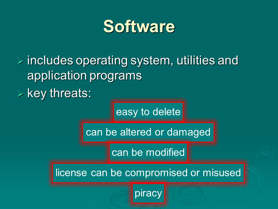 Software includes operating system, utilities and application programs