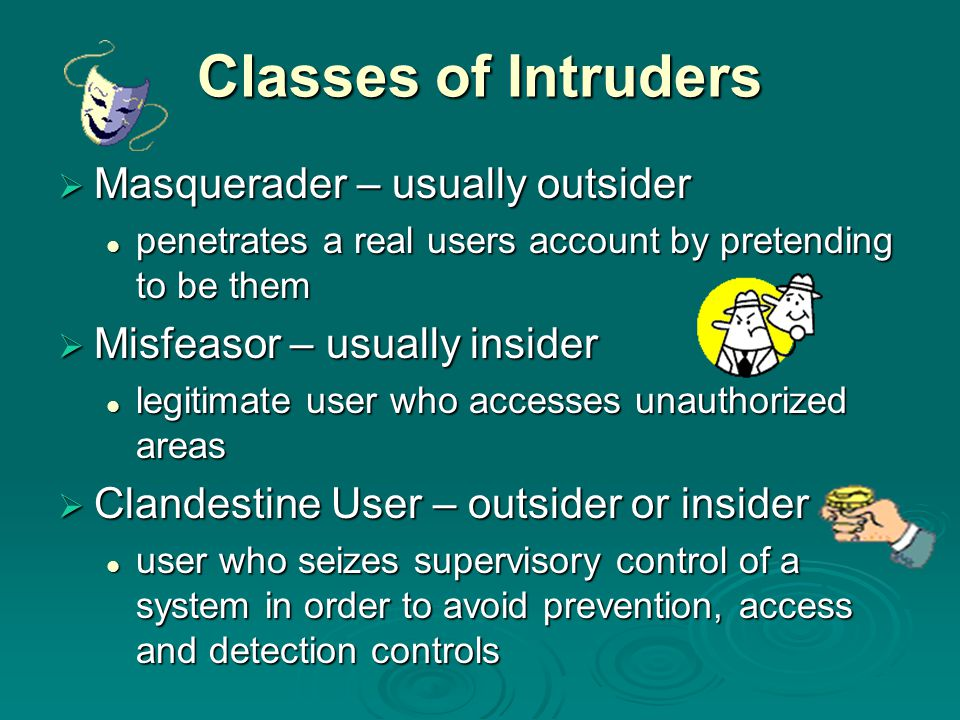 Classes of Intruders Masquerader – usually outsider