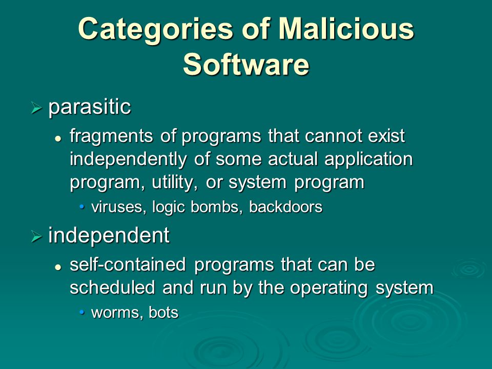 Categories of Malicious Software