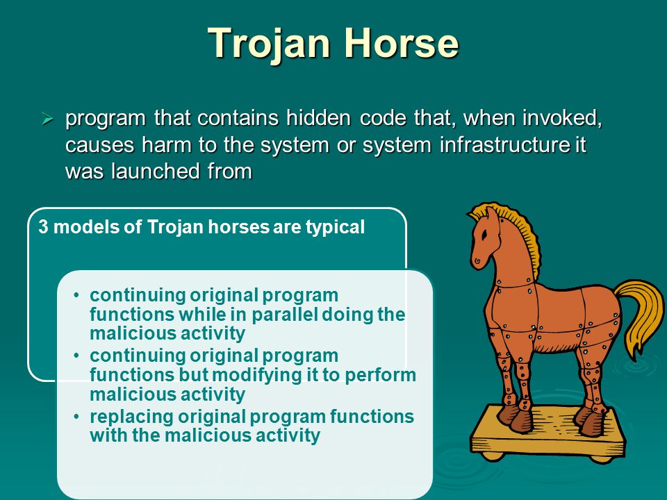 Trojan Horse program that contains hidden code that, when invoked, causes harm to the system or system infrastructure it was launched from.