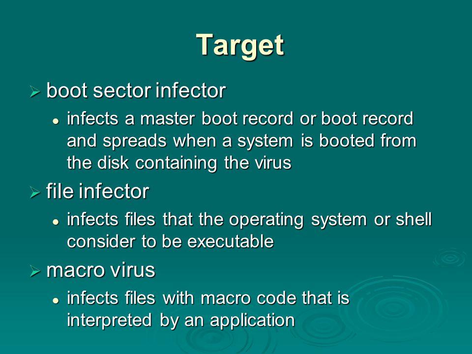 Target boot sector infector file infector macro virus