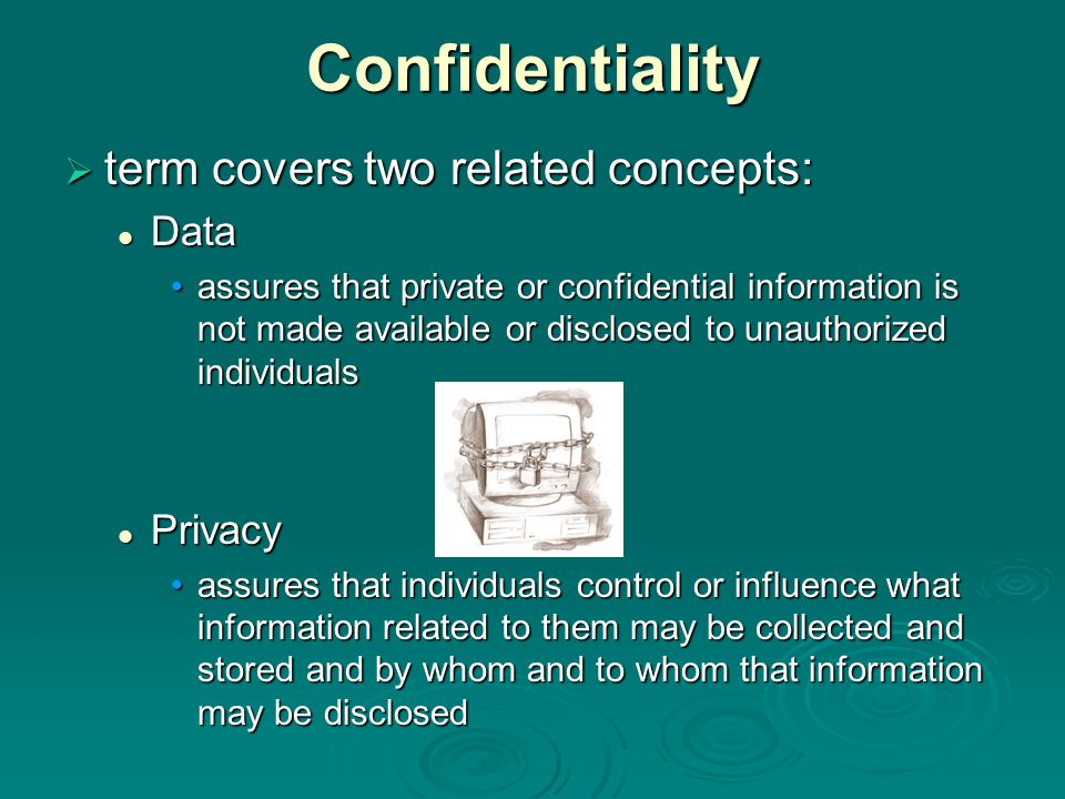 Confidentiality term covers two related concepts: Data Privacy