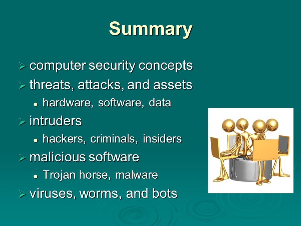 Summary computer security concepts threats, attacks, and assets