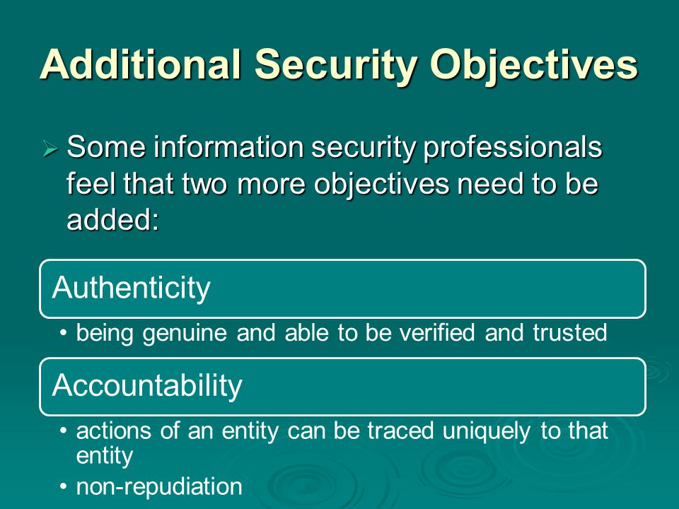 Additional Security Objectives