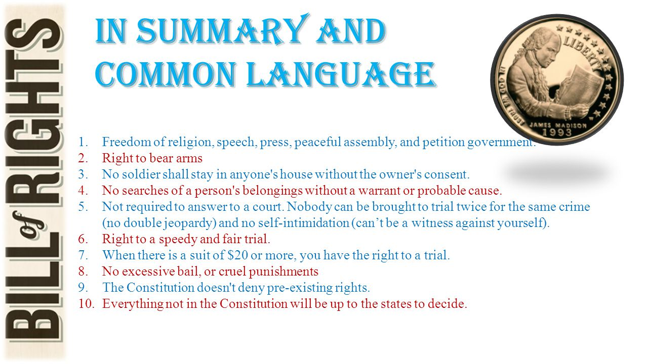 In Summary and common language