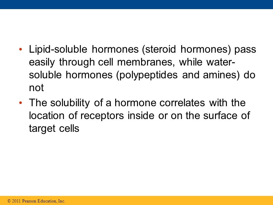 Lipid-soluble hormones (steroid hormones) pass easily through cell membranes, while water-soluble hormones (polypeptides and amines) do not