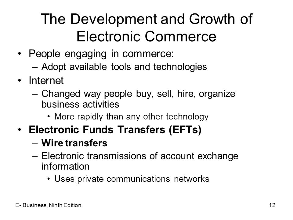 The Development and Growth of Electronic Commerce