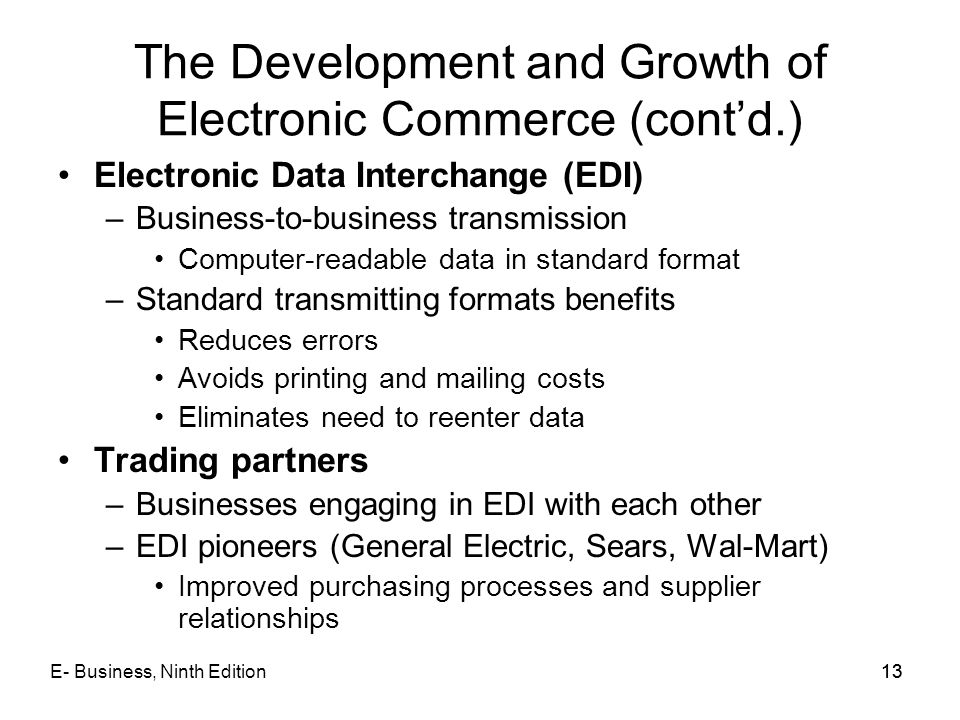 The Development and Growth of Electronic Commerce (cont'd.)