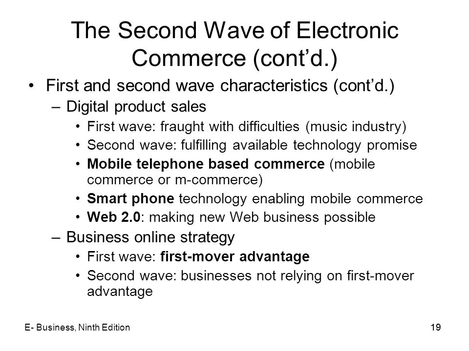 The Second Wave of Electronic Commerce (cont'd.)